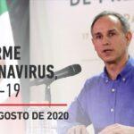 Informe diario por coronavirus en México, 19 de agosto de 2020