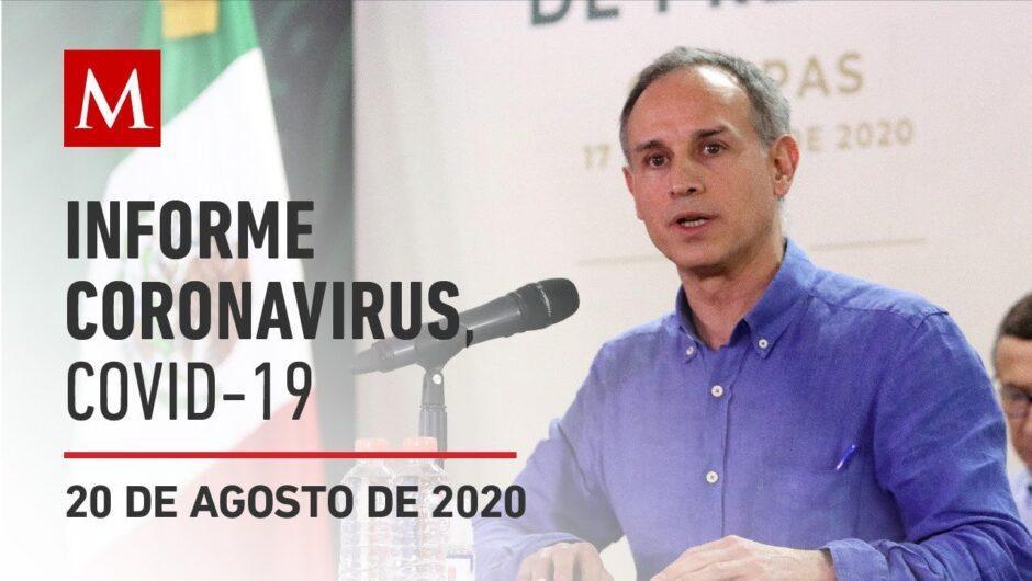 Informe diario por coronavirus en México, 20 de agosto de 2020