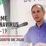 Informe diario por coronavirus en México, 25 de agosto de 2020