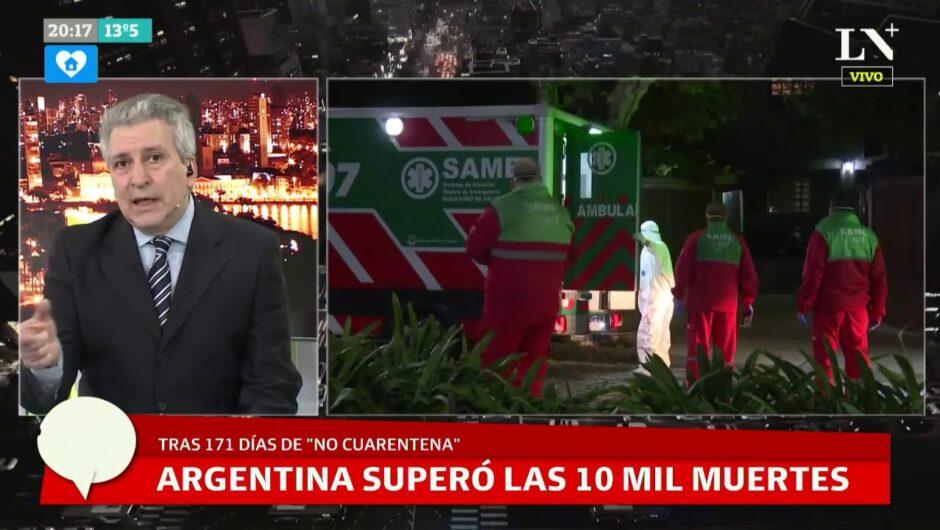 Argentina superó las 10.000 muertes por coronavirus: hoy reportaron 271 fallecidos