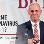 Informe diario por coronavirus en México, 9 de septiembre de 2020