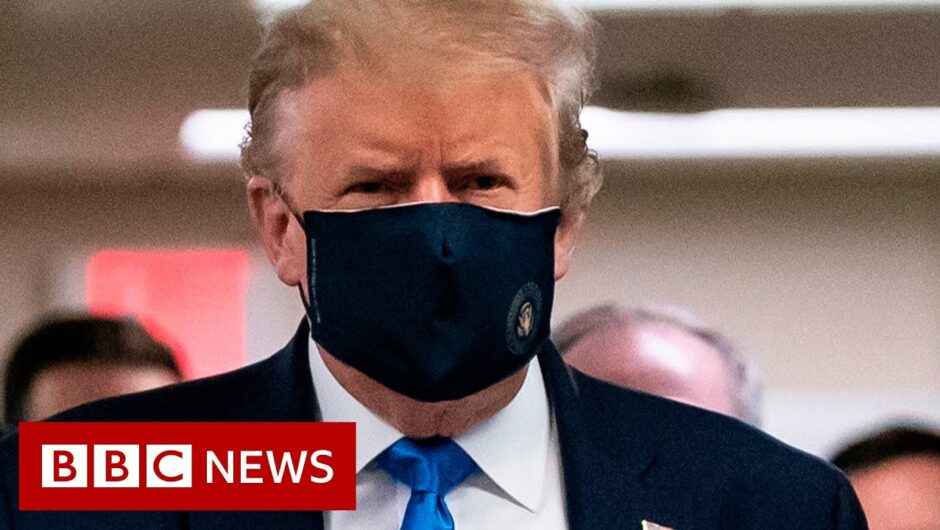Coronavirus: Donald Trump finally wears mask in public – BBC News