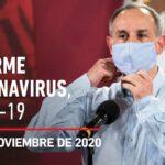 Informe diario por coronavirus en México, 20 de noviembre de 2020