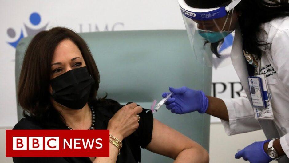 Kamala Harris receives Moderna Covid vaccination – BBC News
