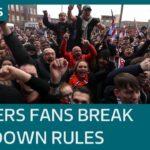 Covid: Rangers fans breach coronavirus lockdown restrictions with Ibrox Stadium gathering | ITV News