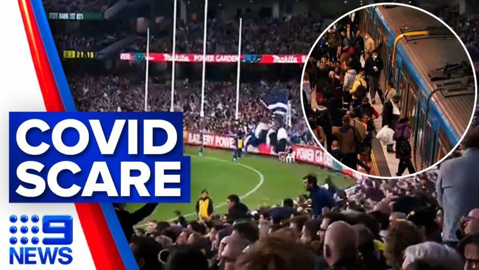 Hundreds potentially exposed on post-game train trip | Coronavirus | 9 News Australia